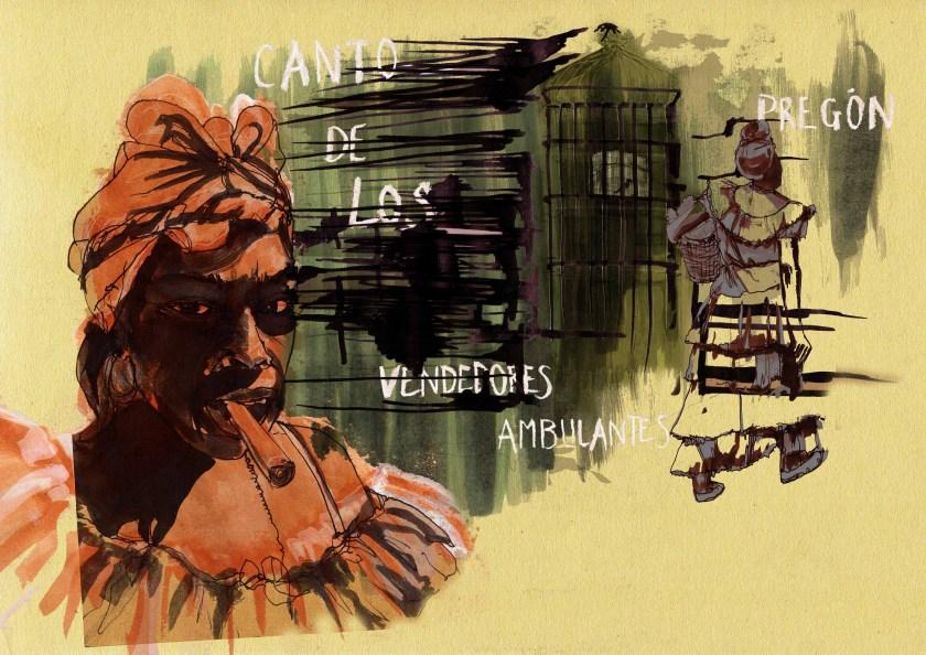 'canto de los vendedores ambulantes' personal work, ink, chalk, marker pen and fine liner; Havana, Cuba ©joannalayla 2012